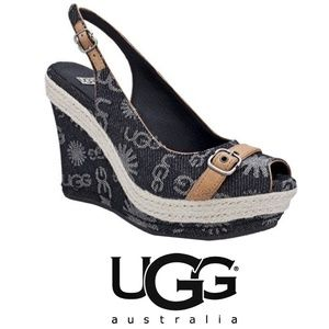 UGG Noella Wedge Sandal - Black Denim Size 9